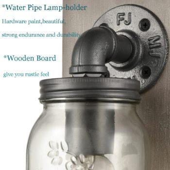 Farmhouse Plug-in Mason Jar Bedroom Wall Sconce Wood Plate