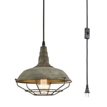 Farmhouse Plug in Pendant Light Dark Grey Metal Cage Fixture