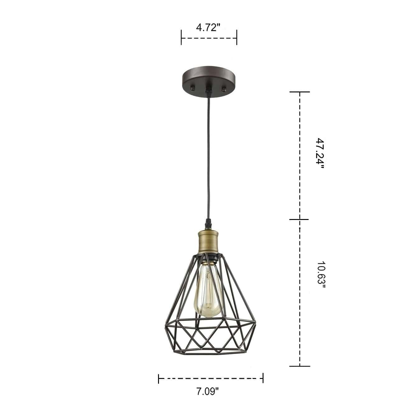 Farmhouse Polygon Wire Cage Pendant Light Hanging Kitchen Lamps