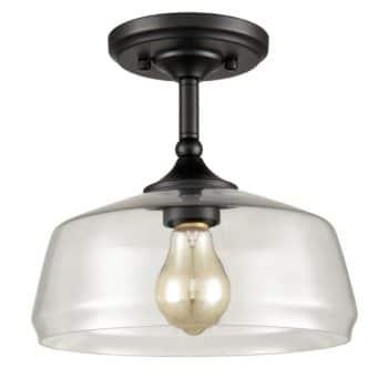 Farmhouse Semi Flush Ceiling Lights Schoolhouse Glass, Black