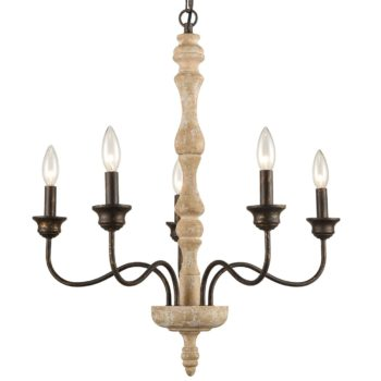 Rustic Shabby Chic Wood Chandelier Distressed White Candle Style