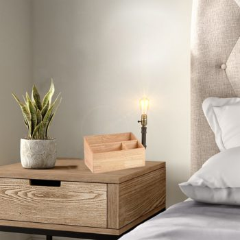 Farmhouse Table Lamp with Wooden Storage Base Plug in Light