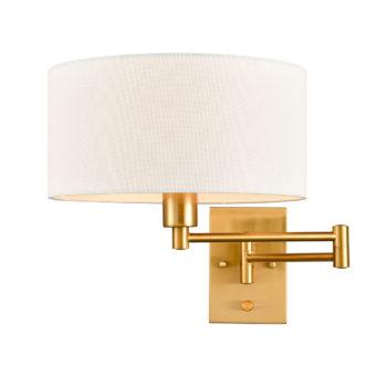 Farmhouse Brass Fabric Swing Arm Wall Lamps Plug in Wall Lights