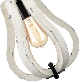 Farmhouse Vintage Wood Pendant Light Distressed White Swag Pendant
