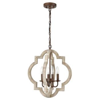 Farmhouse White Wood Chandeliers Orb Dining Room Chandelier