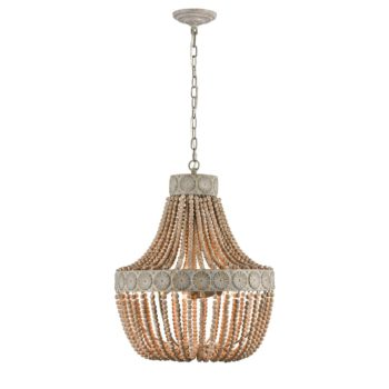 Farmhouse Wood Bead Chandelier Distressed White Dining Room Light