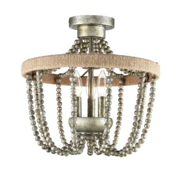 Farmhouse Wood Bead Semi Flush Mounting Ceiling Light Silver