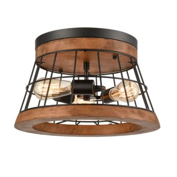 Farmhouse Wood Round Ceiling Light Rustic Brown Finished Oak Wood