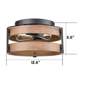 Farmhouse Wooden Ceiling Light Flush Mount Light Fixture-2 Lights