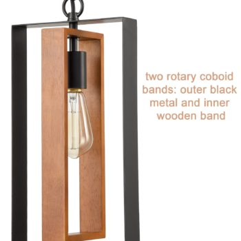 Farmhouse Wooden Pendant Chandelier Black Mini Pendant Light