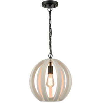 Farmhouse Wooden Pendant Light Globe Hanging Fixture Distressing Off