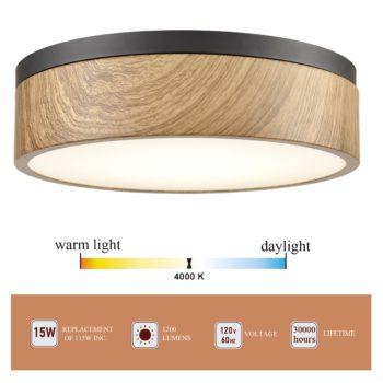 Flush Mount Ceiling Light 13 Inches LED 4000K Lighting Fixture