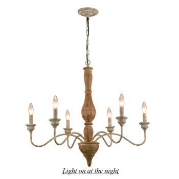 Farmhouse French Country Wood Pendant Chandelier 6 Light