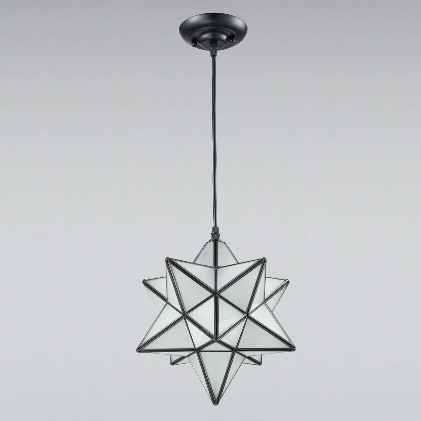 Moravian Star Pendant Light Chandelier Frosted Glass Shade, 12''