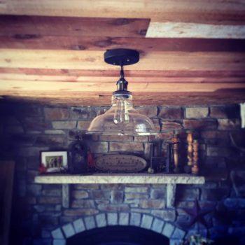 Industrial Glass Pendant Light Antique Bronze Kitchen Fixture