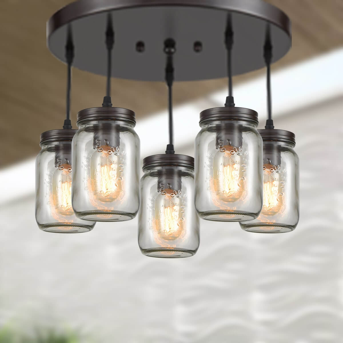 Industrial Mason Jar Semi Flush Ceiling Light Bronze Finish 5-Light