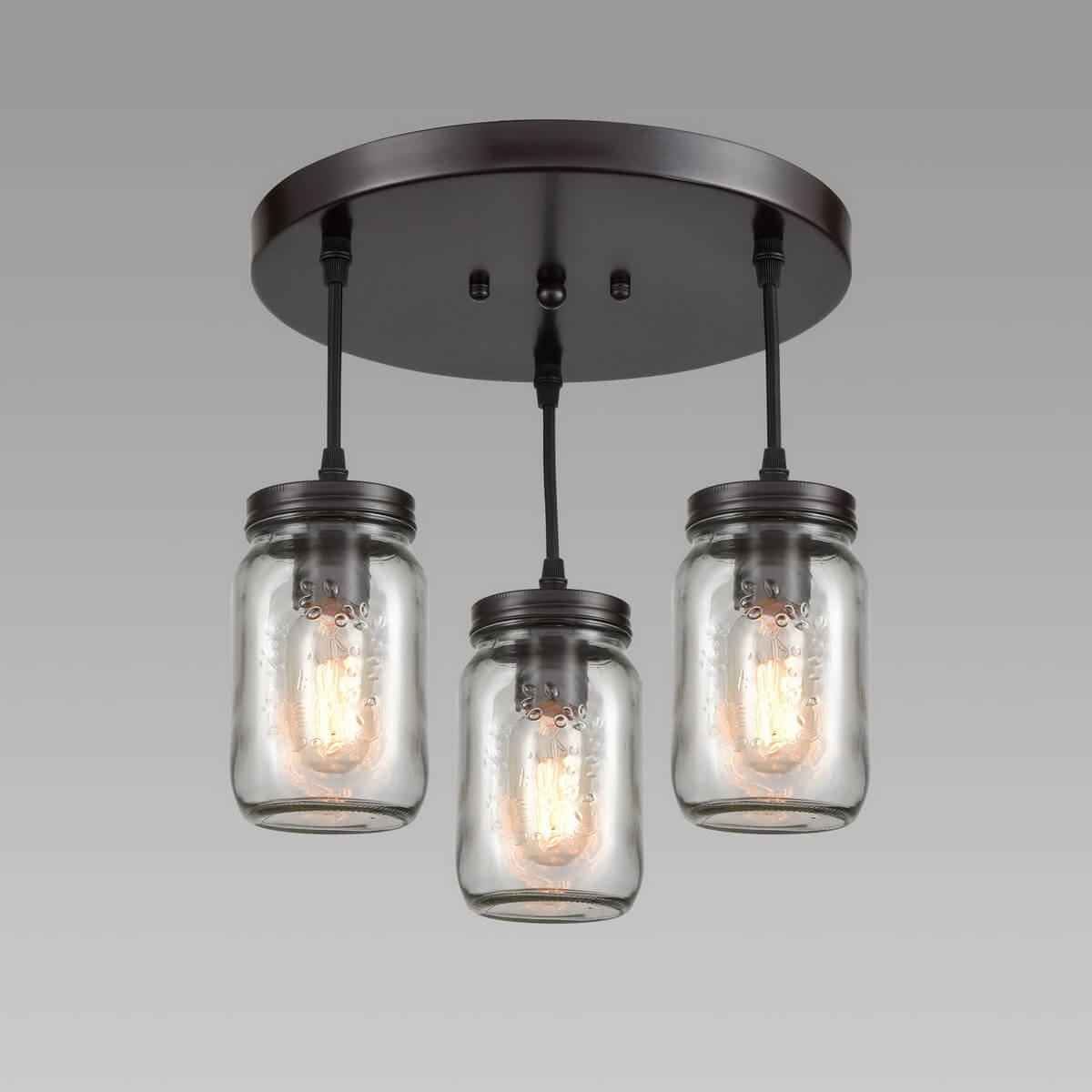 Industrial Mason Jar Semi Flush Ceiling Light Bronze Finish 3-Light