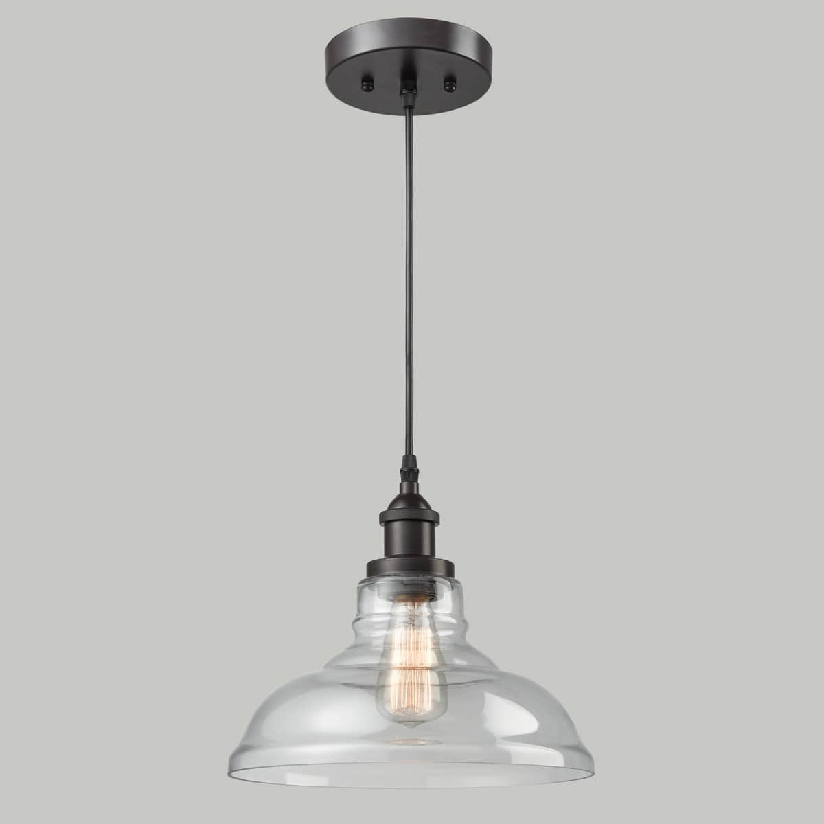 Bronze Industrial Dome Pendant Light Glass Kitchen Fixture