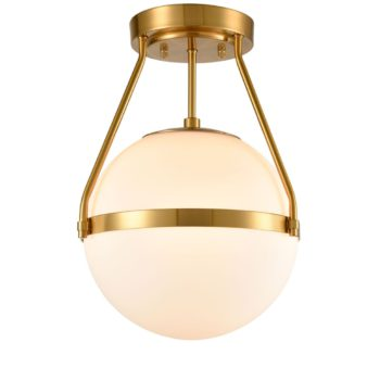 Mid Century Brass Globe Semi Flush Mount Ceiling Light Opal Glass Shade