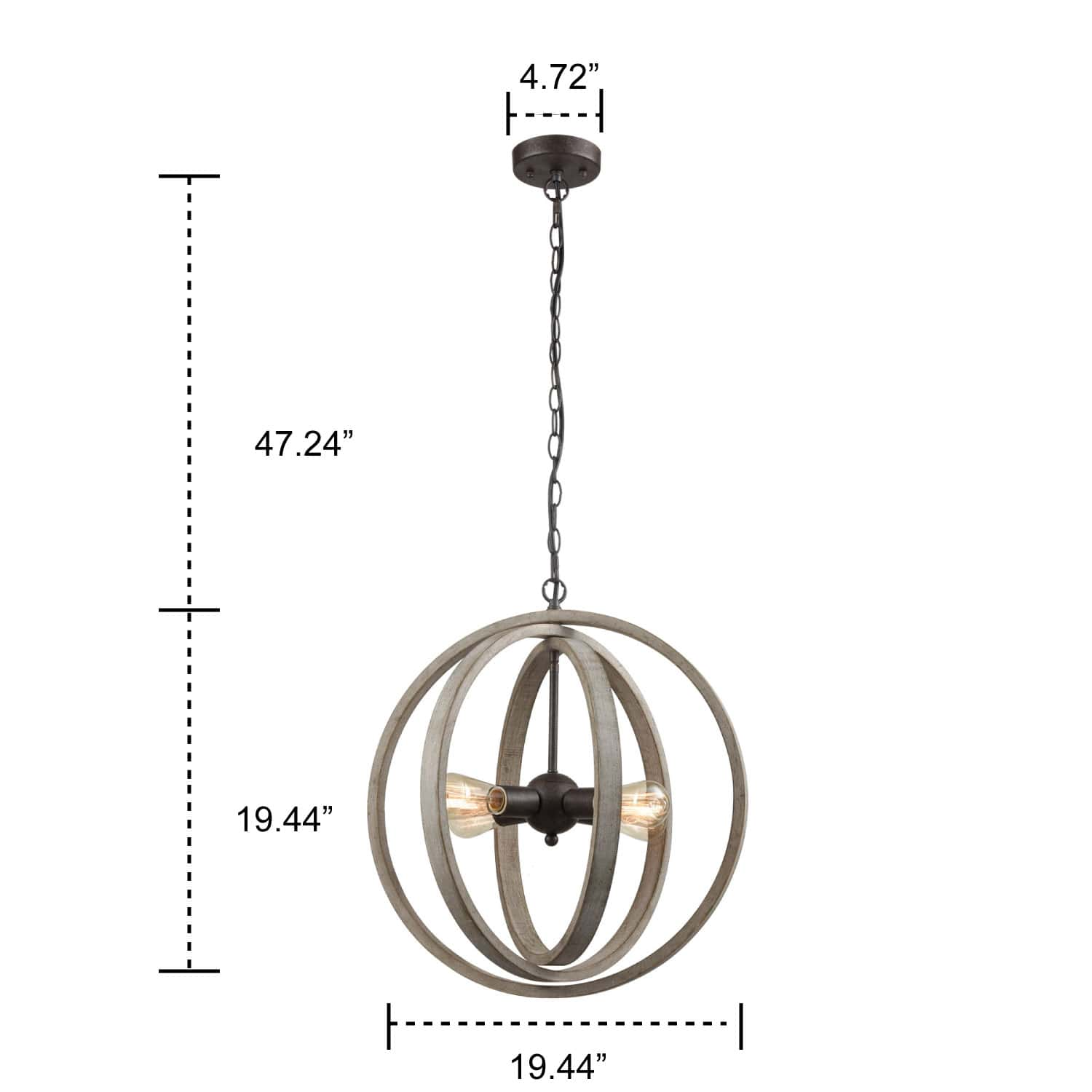 Rustic Pendant Chandelier with Globe Wood Shade - 4 Light