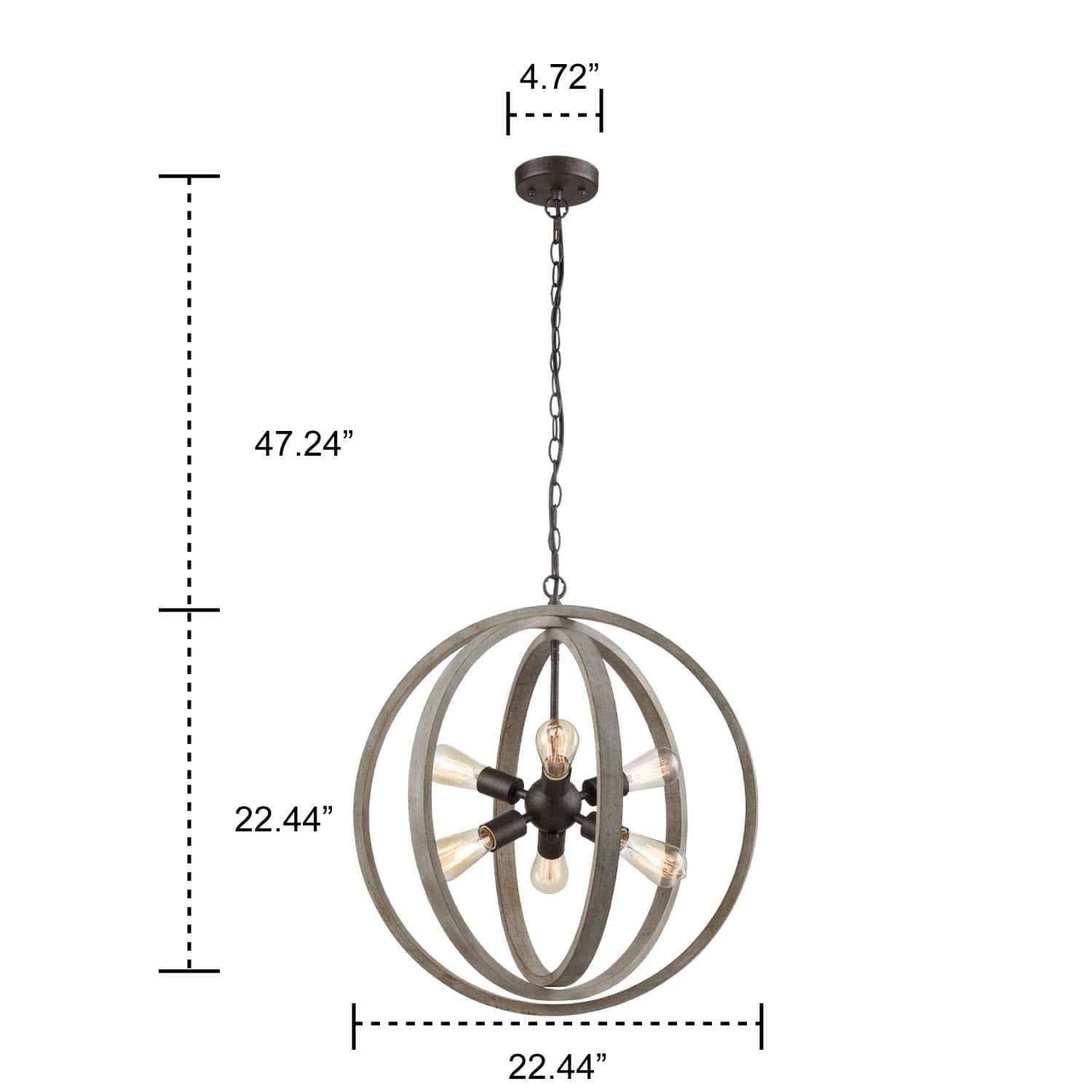 Rustic Pendant Chandelier with Globe Wood Shade - 6 Light