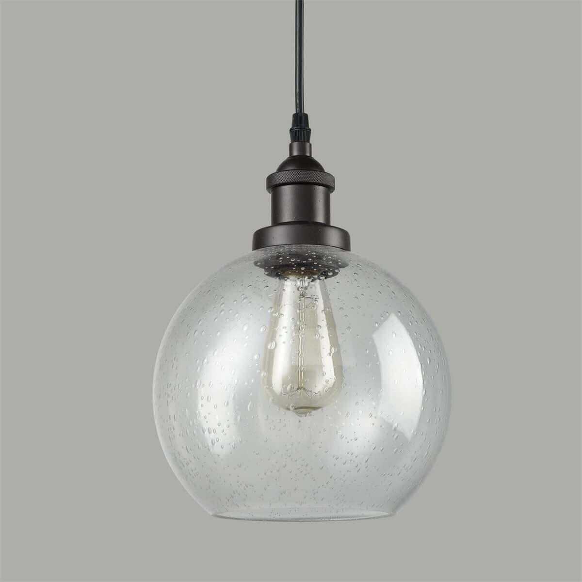 Globe Seeded Glass Pendant Lights, Oil Rubbed Bronze