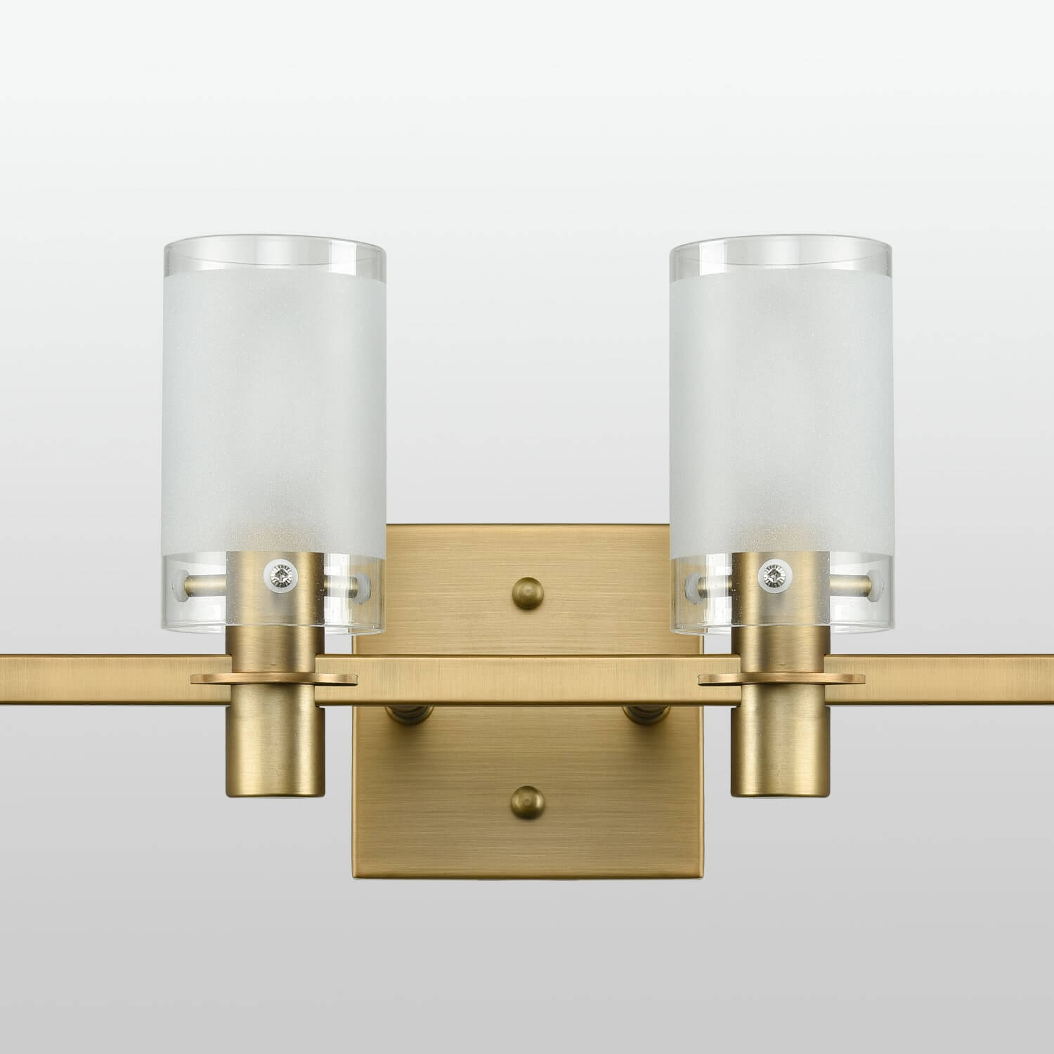 Modern Brass Bathroom Vanity Lighting with Frosted Glass - 4 Light