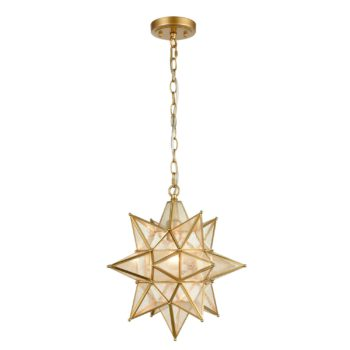 Moravian Star Pendant Chandelier Seeded Glass Gold Light 15 Inches