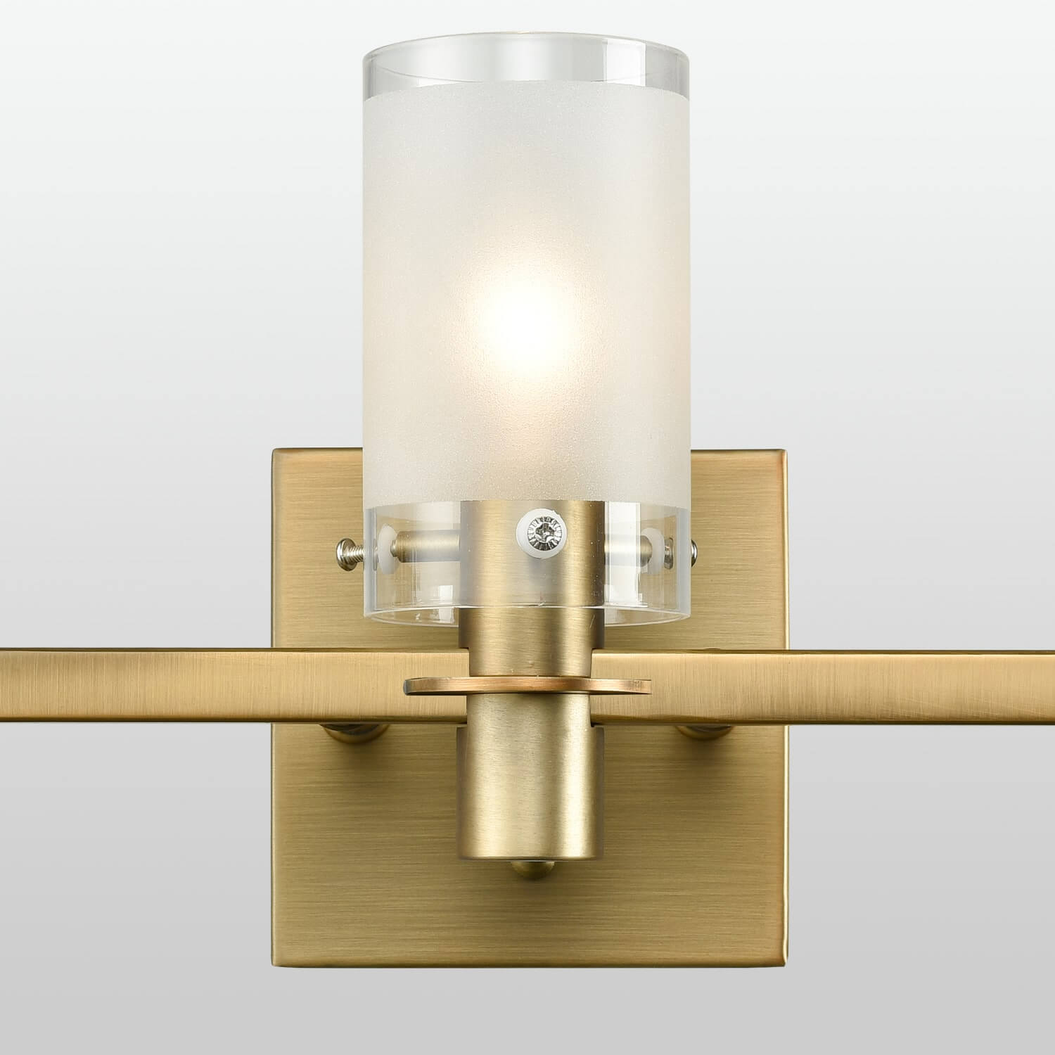 Modern Brass Bathroom Vanity Lighting with Frosted Glass - 3 Light