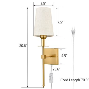 Gold Wall Sconce Sets of 2 Beige Linen Shade Plug-in Porch Light