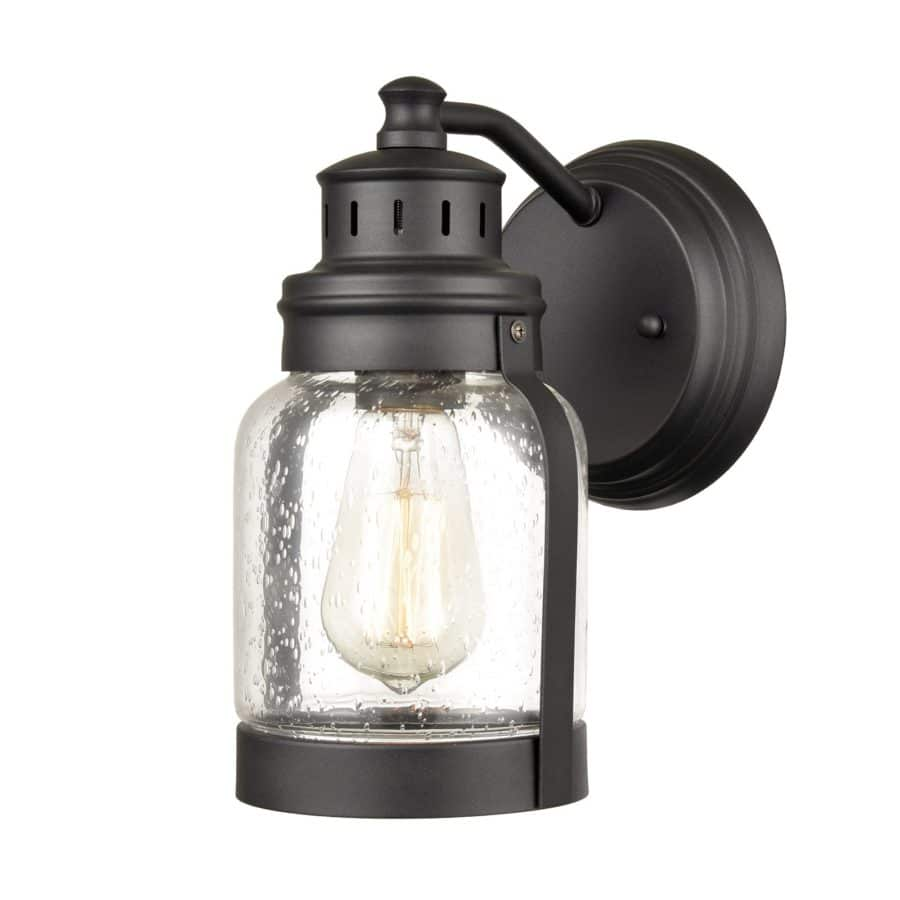 Indoor/Outdoor Matte Black Wall Lantern Porch Sconce with Seeded Glass