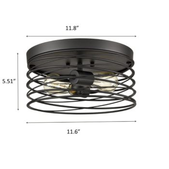 Industrial 2-Light Ceiling Light with Metal Wire Cage Shade Matte Black