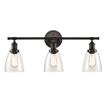 Triple Light Black Bathroom Vanity Lighting Glass Wall Sconces