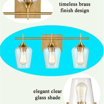 Industrial 3-Light Bathroom Vanity Lighting Brass Wall Sconce
