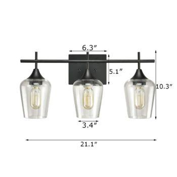 Industrial 3-Light Bathroom Vanity Lighting Black Glass Sconces