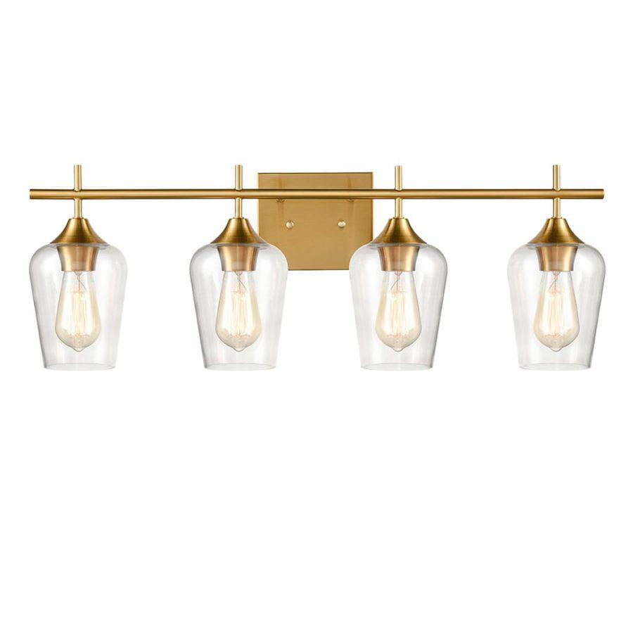 Industrial 4-Light Bathroom Vanity Light Brass Glass Wall Sconce