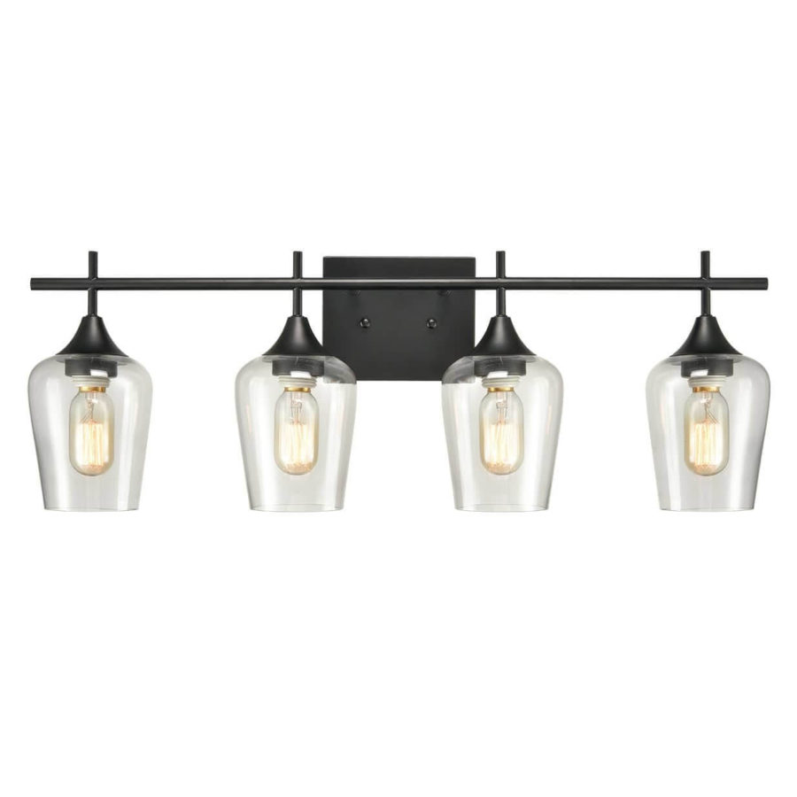 Farmhouse 4-Light Black Vanity Lighting Clear Glass Wall Sconces