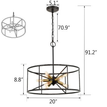 Industrial 9-Light Pendant Light Height Adjustable Chandelier Light