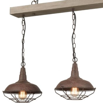Rustic Wood Beam Pendant Chandelier with Metal Barn Shape