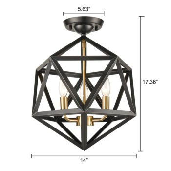 Industrial Black Semi Flush Ceiling Light Geometric Metal Shade