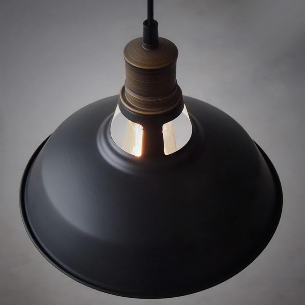 Industrial Black Barn Pendant Loft Light Fixture 3 Pack
