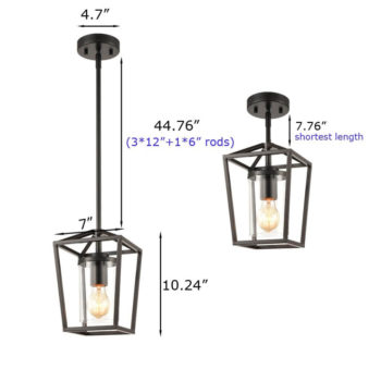 Black Cage Pendant Light with mini Glass Cylinder Shade