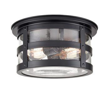 Industrial Black Flush Mount Ceiling Light Seeded Glass Drum Light