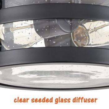 Industrial Black Flush Mount Ceiling Light Seeded Glass Drum Light
