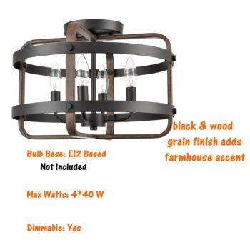 Industrial Black Semi Flush Ceiling Light Wood Grain Drum Light
