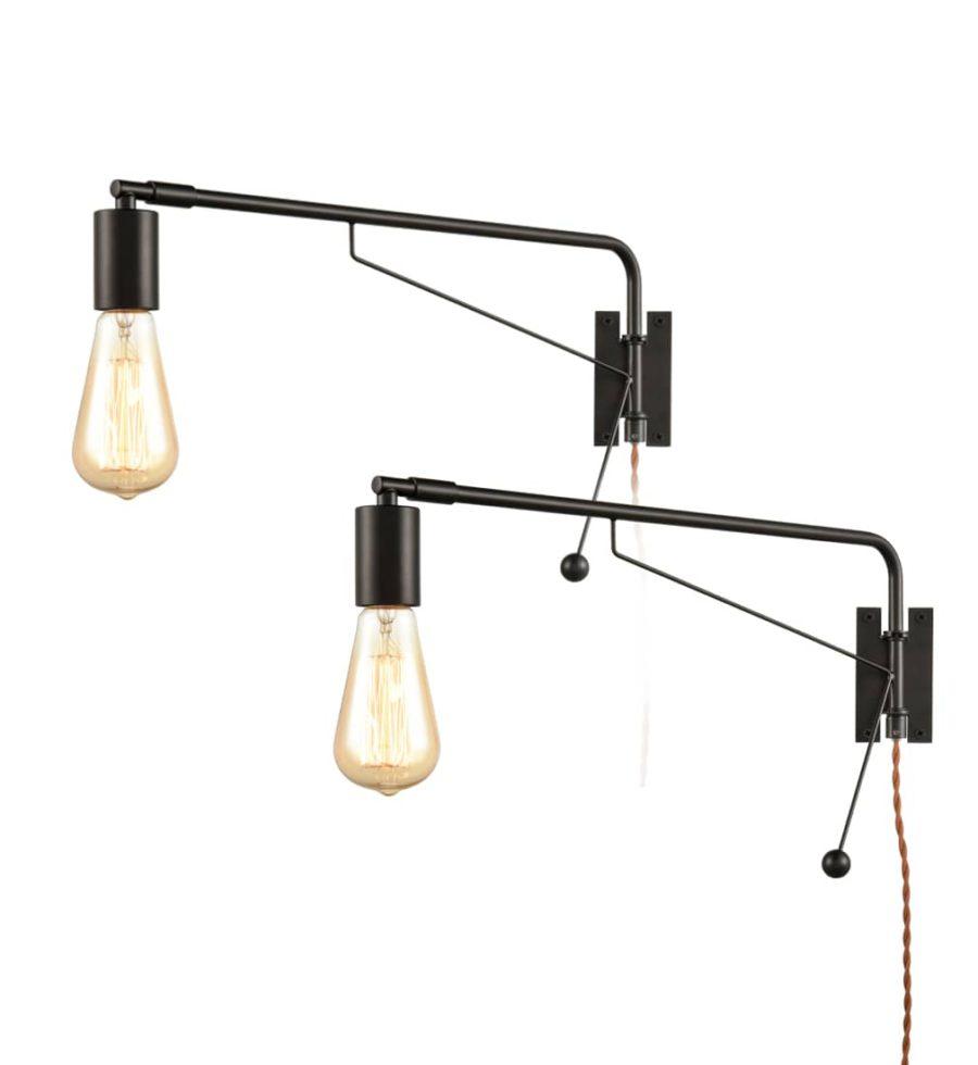 Industrial Black Swing Arm Plug-in Wall Lights Set of 2