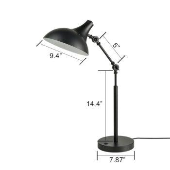 Industrial Black Table Lamp Swing Arm Barn Shade Fixture