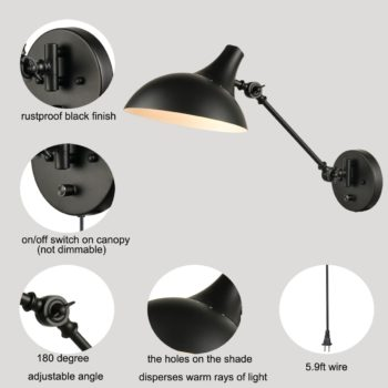 Industrial Black Swing Arm Wall Lamp Wall Mount Plug-in Sconce