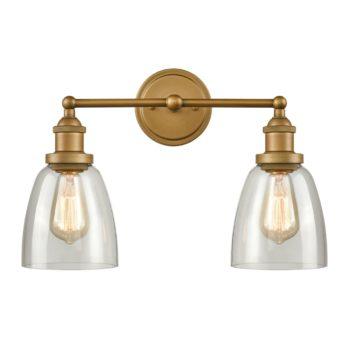 Antique Brass 2-Light Glass Wall Sconces Bell Shape
