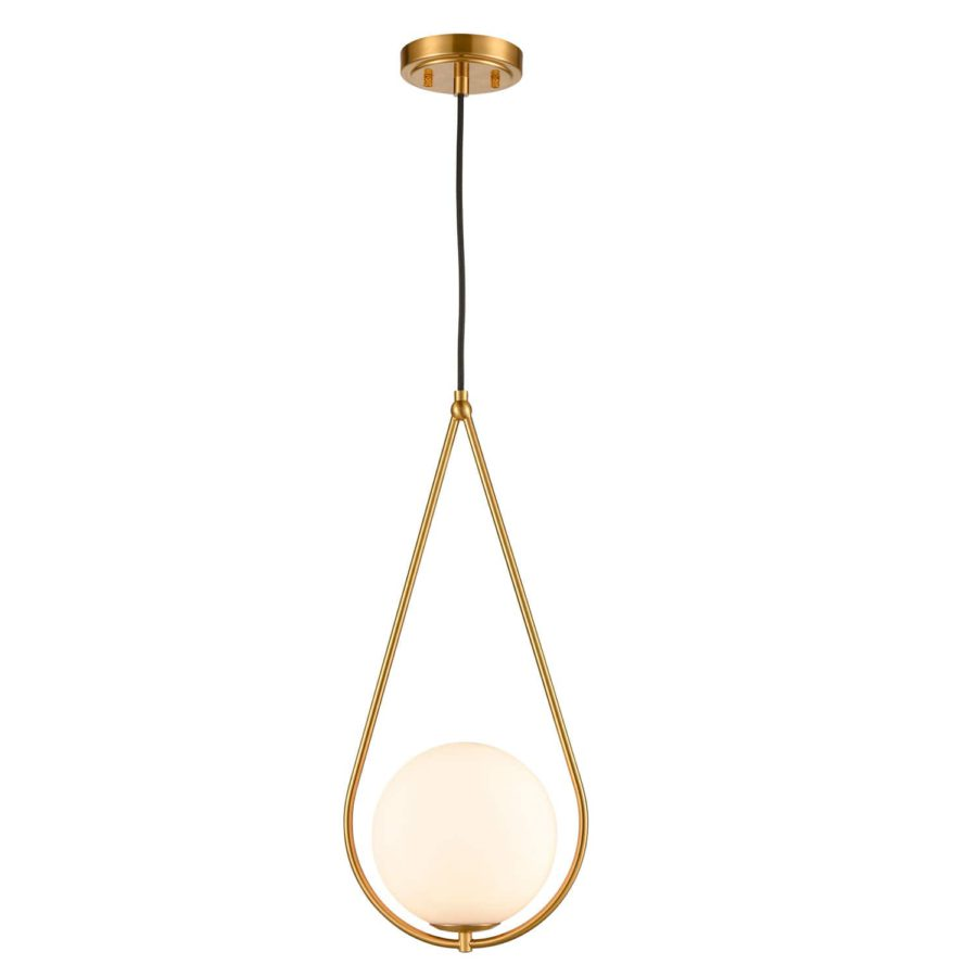 Modern Brass Globe Pendant Lights with Opal White Glass Shade